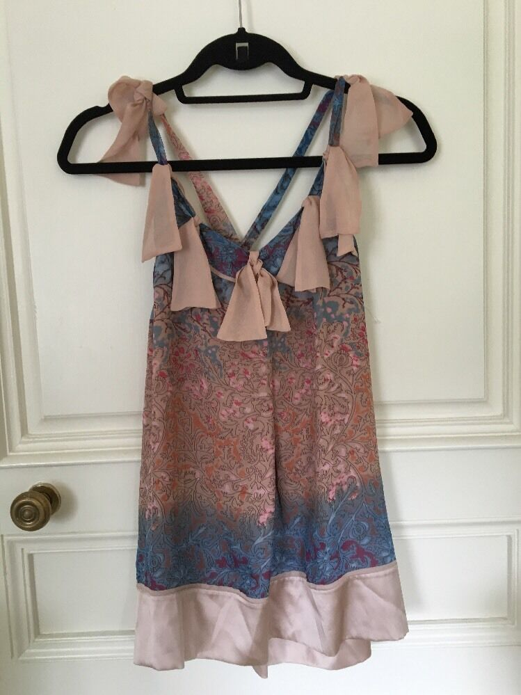 DIANE VON FURSTENBERG EUC Rosa and Blau Floral 100% Silk Fully Lined Top Größe 6