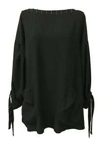 Tadashi Blouse Neck Boat Fabric Fluid Black Inserts Black/White TPE192169