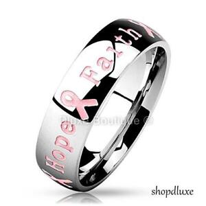 STAINLESS-STEEL-6MM-PINK-RIBBON-BREAST-CANCER-AWARENESS-RING-BAND-SIZE-5-12