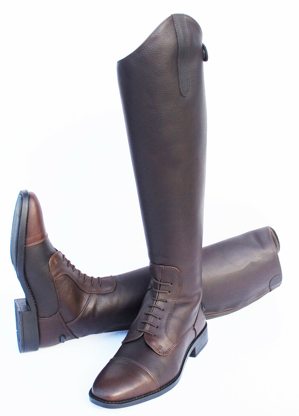 NEW -  Rhinegold Elite Luxus Leather Long Riding Boots-Antique Brown -Various  discount promotions