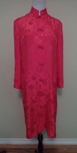 VTG 60s 70s Dynasty British Crown Red Silk Floral