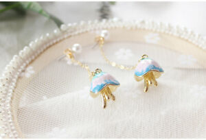 E1075-Betsey-Johnson-Blue-Dangling-Link-Jellyfish-Ocean-Fish-Sea-Earrings-UK