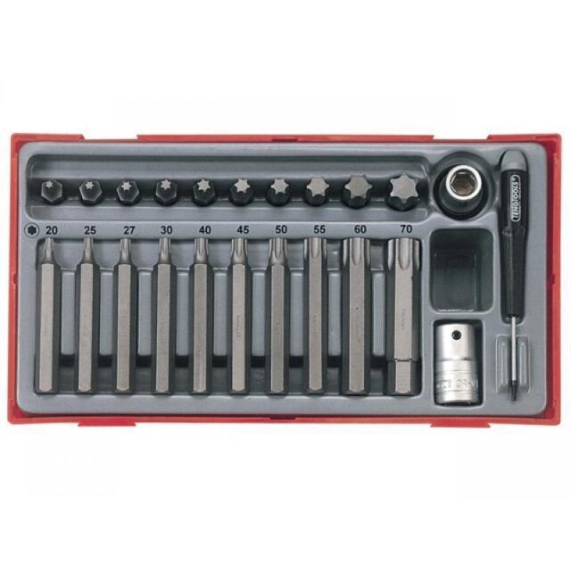 Teng Tools 23 Piece 1//2 Inch Drive Regular//Long Hex Bit Socket Set Tool Tray TTHEX23