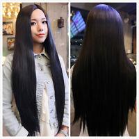 Womens Long Straight Black Hair Cosplay Halloween Full Party Wig Fancy Dress Wig