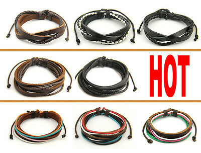 Genuine Leather Rope Bracelets Handmade Cuff Wrap Tribal Multilayer Womens Mens