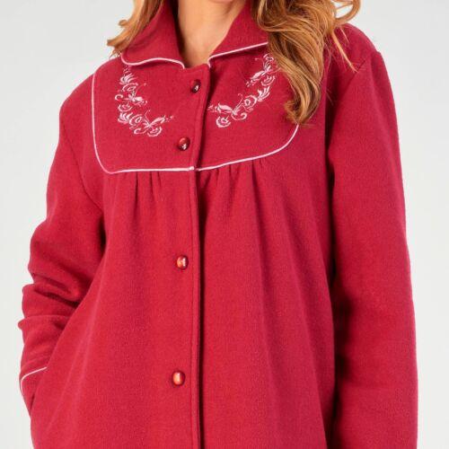 Slenderella Button Through Dressing Gown Premium Soft Boucle Fleece Housecoat