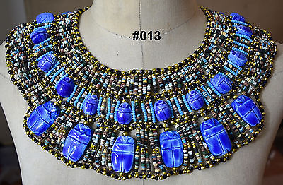 Egyptian Queen Cleopatra style Pharaoh's Necklace/Collar Mummy Faience Beads