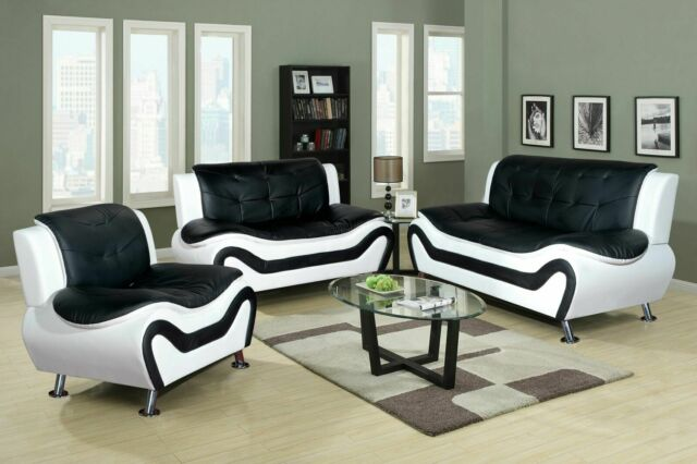 Living Room 3pc 3 Piece Aldo Modern Sofa Set Black/White