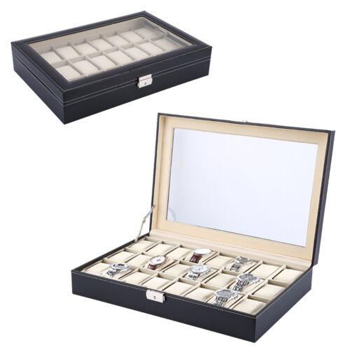 Uhrenbox 24 Uhren Uhrenkoffer Uhrentruhe Uhrenkasten Uhrenschatulle Uhren LM