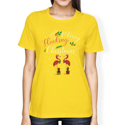 1Tee Womens Loose Fit Merry Flocking Christmas Flamingo Holly T-Shirt