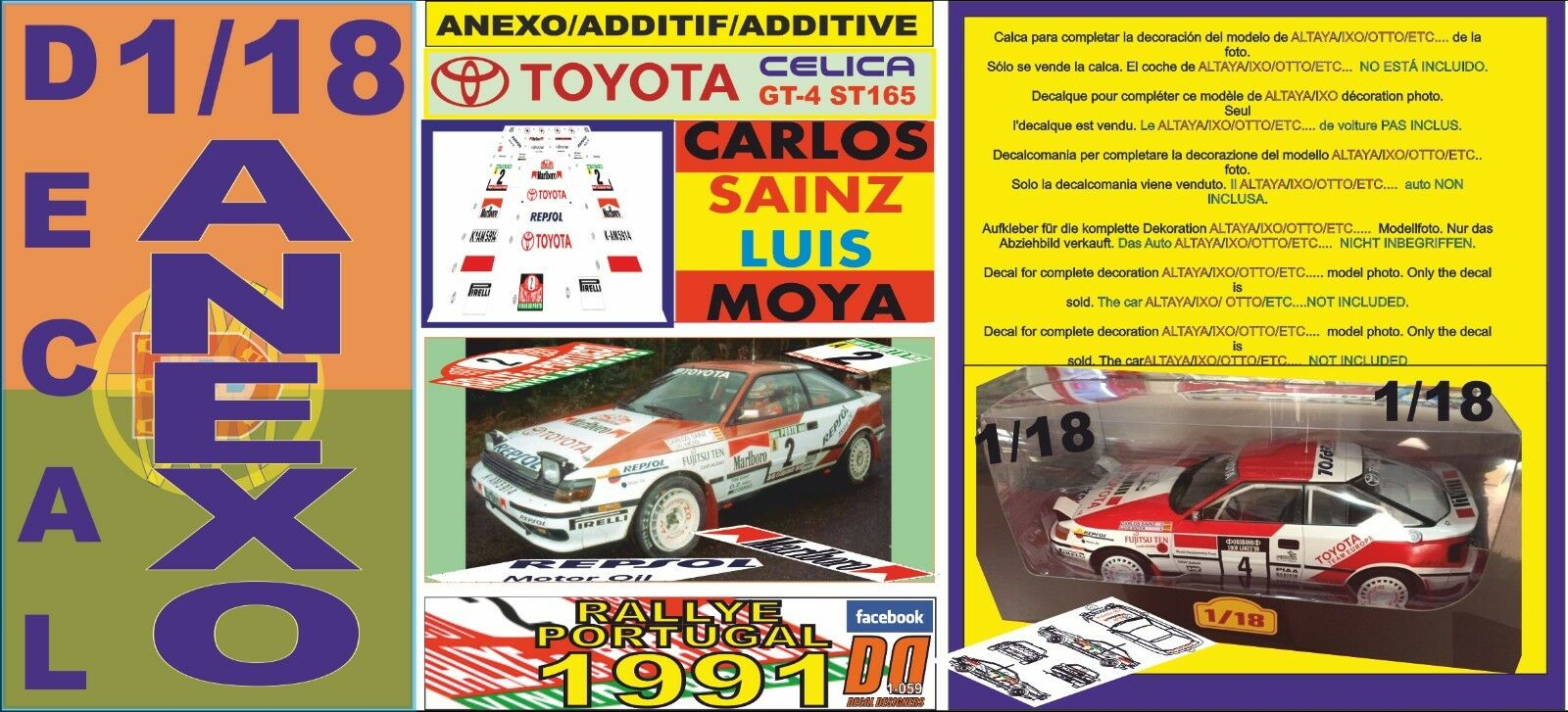 ANEXO DECAL 1 18 TOYOTA CELICA CARLOS SAINZ RALLY PORTUGAL 1991 (12)