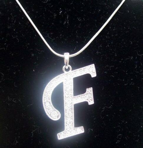 Silver Crystal Diamante Initial Letter B D F G H S T Pendant Necklace Chain Girl