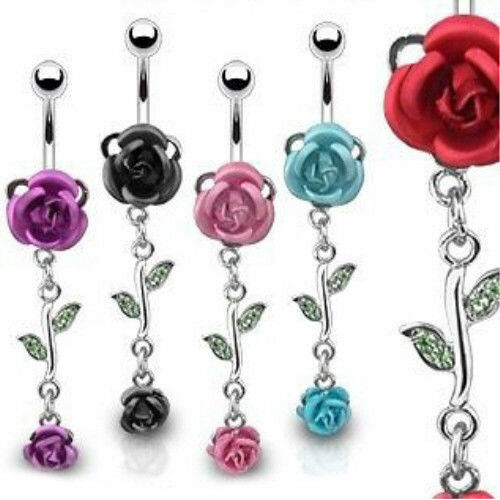 Flower Double Belly Ring Navel Naval Purple Black Red Pink Aqua