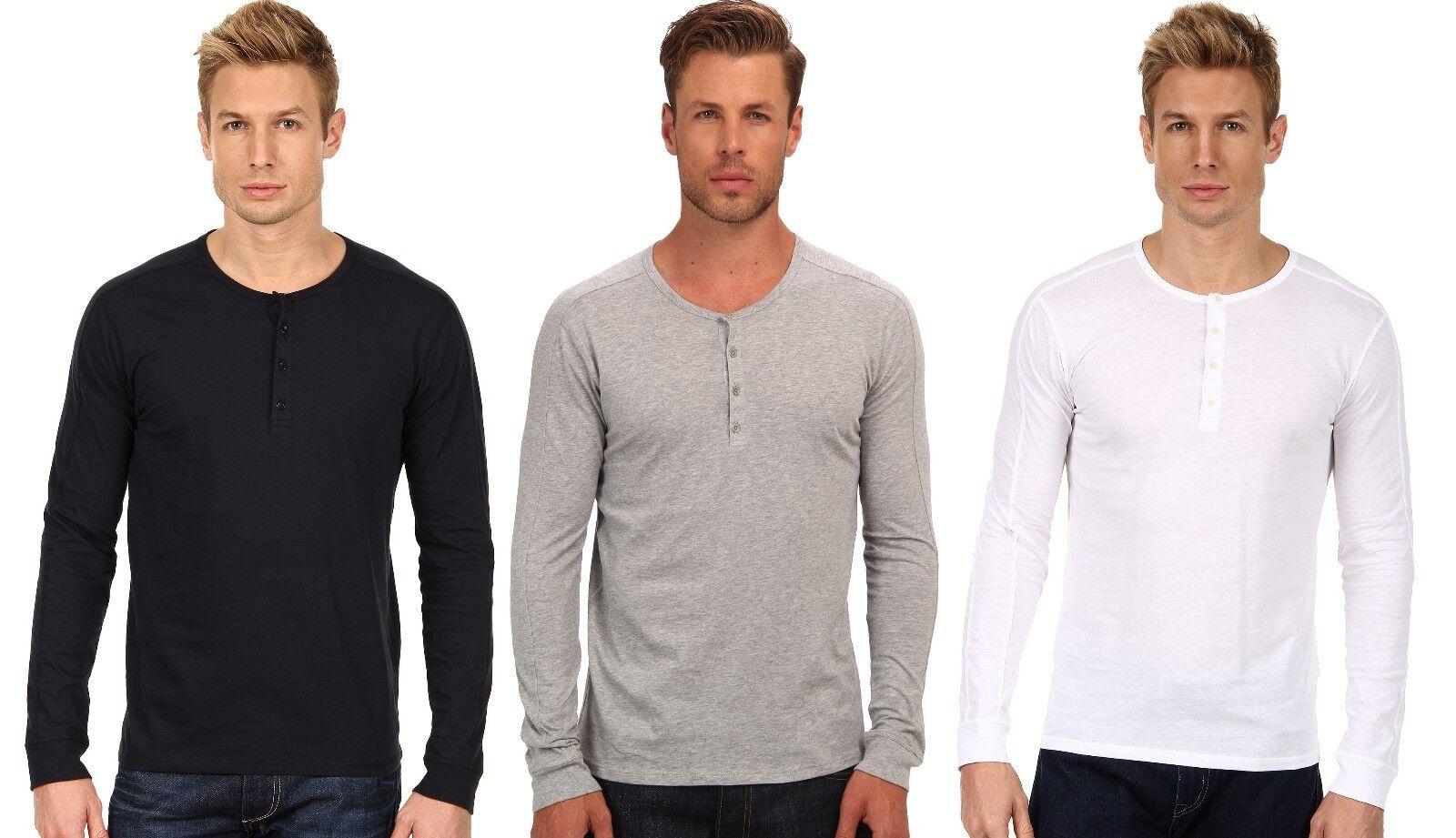 New Vince Henley Mens Long Sleeve Soft Pima Cotton Top T-Shirt  Thin Sweater