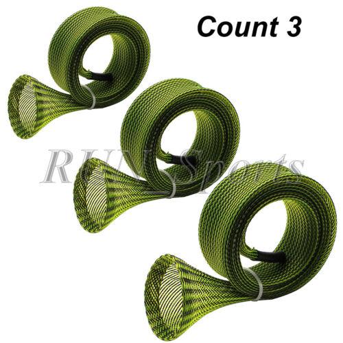 Lot 3 Baitcater Fishing Rod Socks Rod Sleeve Pole Cover Jacket Green 32 mm Width