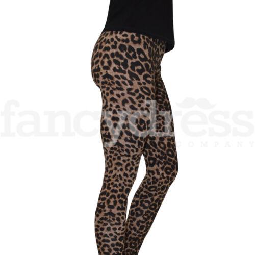 Ladies Leopard Animal Print Leggings Small Medium Stretch Brown 80/'s NEW
