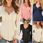 NEW Style Women's Sexy Loose V-neck Bandage Tops Long Sleeve Shirt Casual Blouse