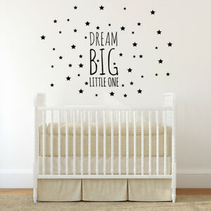 Dream Big Little One Wall Decal Kids Room Decor Nursery Wall Decal Quote Decals Ebay