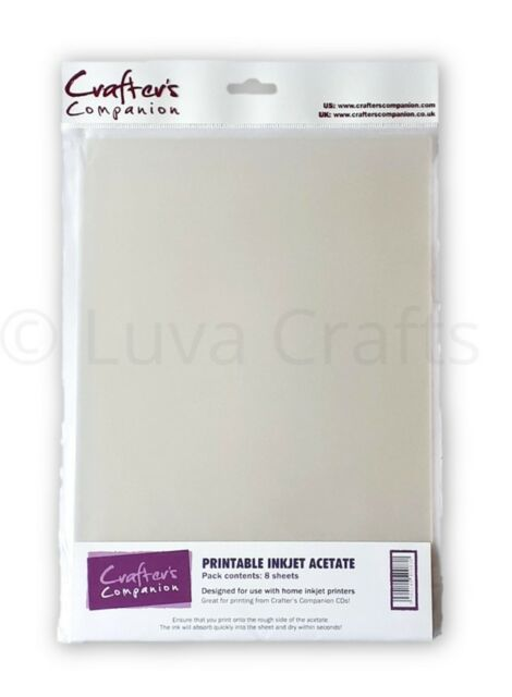 Crafter's Companion Printable Inkjet Clear Acetate A4 100 micron - Pack 8 Sheets