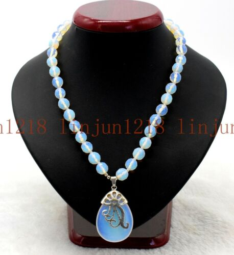 """Hot 10 mm Faceted White Moonstone Opale Pierres Précieuses Perles Pendentifs Collier 18/"""" AAA"""