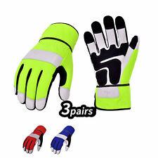 Vgo 3pairs High Dexterity Goat Leather Palm Medium Duty Work Gloves Ga7674