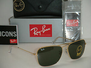 00b67abf956e4 RAY BAN 3136 Caravan RB3136 001 58mm Gold frame with Green G-15 ...