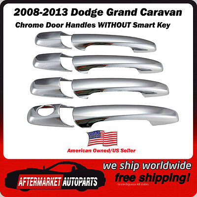 For DODGE Grand Caravan 2008-2013 2014 2015 2016 Chrome 4 Door Handle Covers w//o