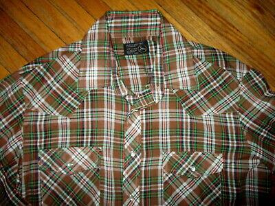 Appena Vintage Jc Penney Western Negozio Camicia Perla A Scatto Verde Marrone Plaid