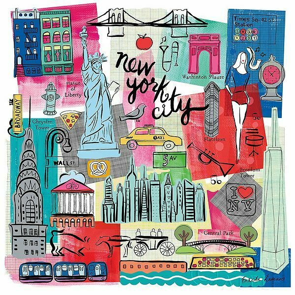 Farida Zaman  Global Travel I Keilrahmen-Bild Leinwand New York Reise Collage