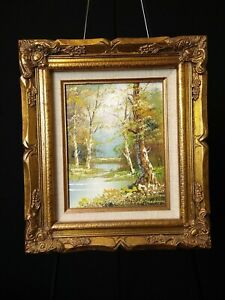 Vintage J Medina Oil Painting Signed And Stamped, Hand Carved Wood Frame, Mexico