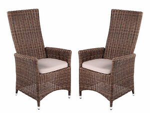 2er set verstellbar bequem polyrattan sessel braun gartenstuhl polyrattanstuhl ebay. Black Bedroom Furniture Sets. Home Design Ideas