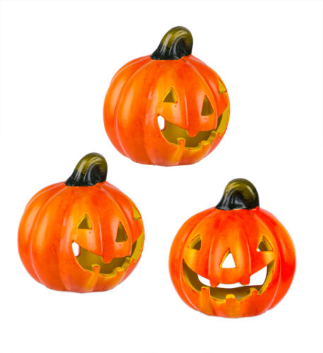 3x Kürbis Windlicht für Halloween Herbst Deko Kerzen Teelicht Halter Keramik k