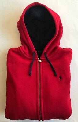 Polo Ralph Lauren Men/'s Red Fleece Lined Full Zip Hoodie//Jacket