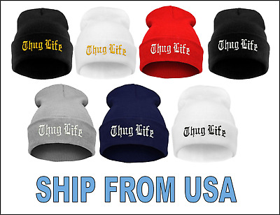 "Gold SKULL CAP Free Shipping /""Thug Life/""  EMBROIDERED CUFFED BEANIE Black"