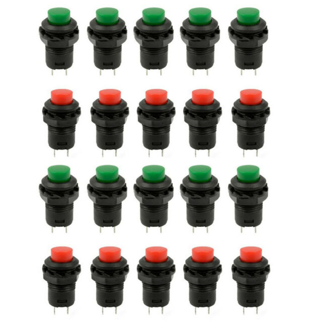 20 Pcs 1.2inch Thread Green & Red Cap SPST Latching Type Push Button Switch W7R4