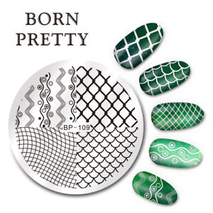 Nail-Art-Stamping-Image-Plate-Stencil-Wave-Line-Net-DIY-BP-109-BORN-PRETTY