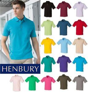 Henbury-Classic-Heavy-Cotton-Pique-Polo-Shirt-Short-Sleeve-SIZES-SMALL-3XL