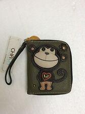 Chala Monkey Zip Around Wallet Faux Leather Olive Green Wristlet New