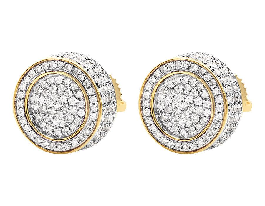 Unisex 10K Yellow gold 3D Pave Set Genuine Round Diamond Stud Earrings 1.20ct