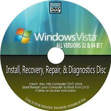 WINDOWS VISTA INSTALL REINSTALL RECOVER REPAIR PC DVD ALL VERSIONS 32/64 Bit NEW