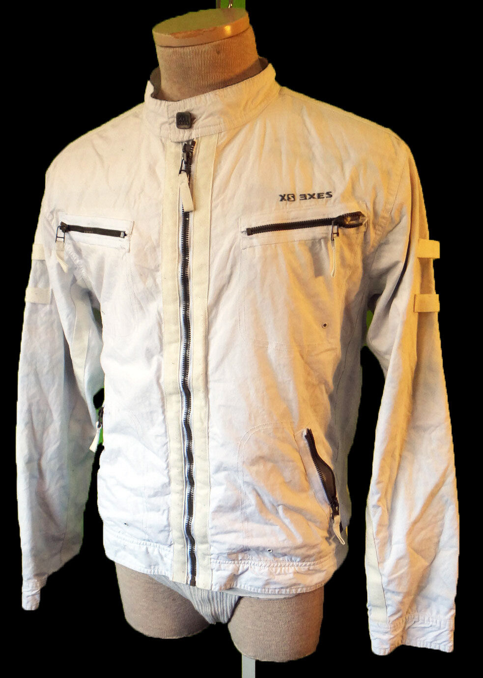 White cotton cafe racing parachute vintage zipper coat motorcycle coat medium xs