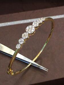 0-92-Cts-Runde-Brilliant-Cut-Natuerliche-Diamanten-Armreif-Bracelet-In-14K-Gold