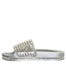 74b09c7d8 Dazzling Rhinestone Crystal Open Toe Slides Flat Sandal Shoes Flip Flops  Slipper