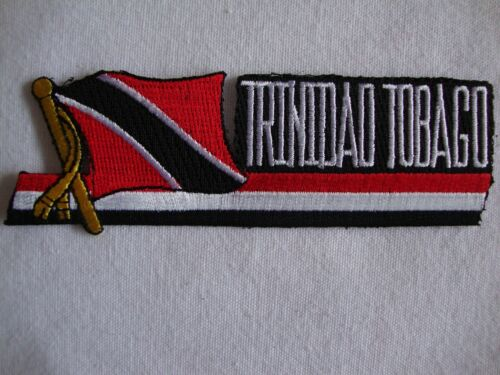 """NEW Trinidad Todago Flag Cut Out Lettering 4.25/"""" x 1.5/"""" Iron On Patch Badge Glue"""