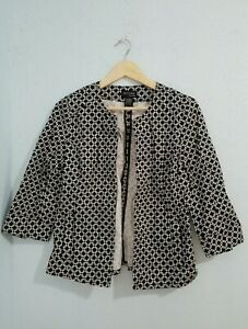 Attyre-NEW-YORK-Women-039-s-Blazer-Jacket-Black-White-Open-Front-3-4-Sleeve-Size-S