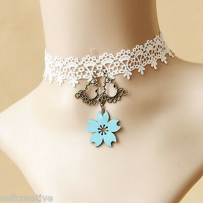 New Gothic Bridal Lolita Cherry Blossom Choker White Flower Lace Chunky Necklace