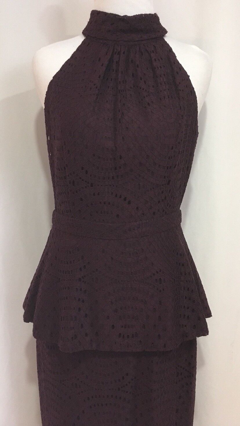 0f371d154f6 ... Eva Mendes New New New York And Company 2 Piece Plum Lace Halter Top    Skirt ...
