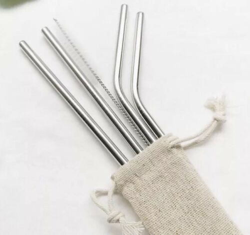 Reutilizable De Metal pajas Cepillo de Limpieza /& Bolsa De Tela vendedor de Reino Unido