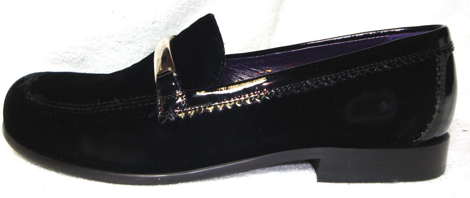 DonaldJ. Pliner Black Velvet/Patent Leather Loafers/Shoe Silver Strap Flat Loafers/Shoe Leather 8.5M c1ca7c