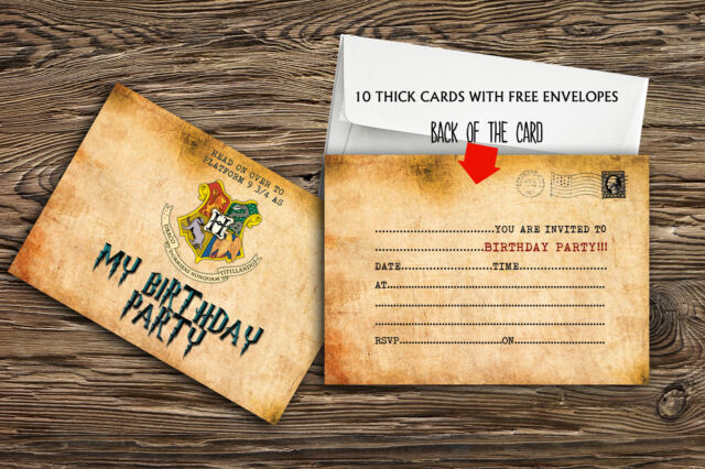 Birthday Party Invitations Harry Potter X 10 THICK CARDS Free Envelopes